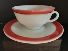 Vintage Pyrex Tea Cup And Saucer Red Trim Restaurant Ware