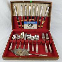 """Oneida Silver Plate """"1881 Rogers"""" Silverware Flatware Set 56 pcs w/ Wooden Case"""
