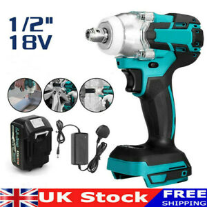 """1/2"""" Cordless Impact Wrench Brushless Driver Torque Replace w/ Charger Battery"""