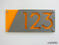 Modern House Numbers, Concrete with Yellow Acrylic -  Sign Plaque - Door Number
