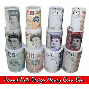 £ Note  Design Money Coin Box, Tin Saving Cash Piggy Bank Holiday Saving Box