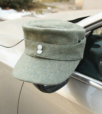 WWII GERMAN OFFICER WH EM M43 PANZER WOOL FIELD CAP GREEN SIZE L
