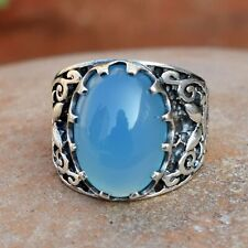 Blue Chalcedony Gemstone 925 Sterling Silver Ring Ethnic Jewelry VSS8