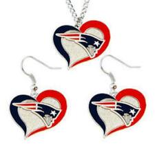 New England PATRIOTS Swirl Heart Necklace & Earrings Dangle Charm Set by Amico