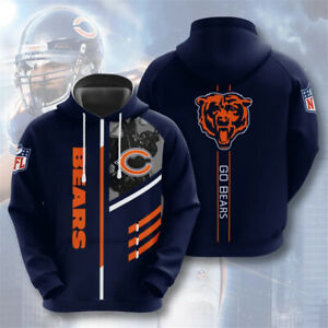 Chicago Bears Hoodie Pullover Football Fans Hooded Sweatshirt Sports Jacket Gift