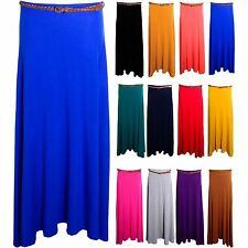 New Ladies Long Gypsy Belted Plain Coloured Jersey Maxi Dress Womens Skirt 8-14