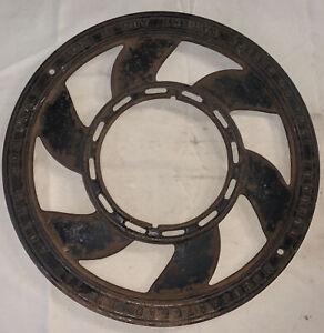 "Antique Vintage Cast Iron Heat Circular Grate Vent Cover 15 3/8"" The Adams Co."