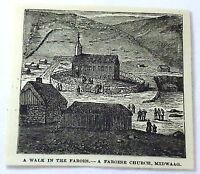 1886 magazine engraving ~ A Walk In The Faroes - A Faroese Church, Midwaag