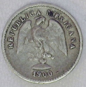 1900 Cn Q Mexico Second Republic 5 Centavos Silver Extra Fine Five Cents 5c