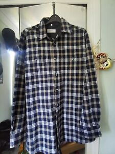 Blue And Grey Mix Flannel Shirt Vintage Style Soft 90s