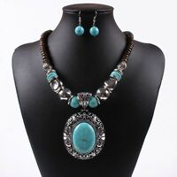 new women retro blue turquoise bead necklace earring jewelry set vintage style