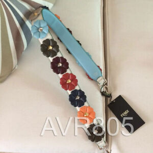 Fendi Strap You Shoulder Strap in White Leather with Flowers Brand New With Tags
