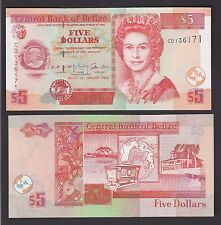 Belize 5 Dollars (ND 2002) P61b Prefix CD Queen Elizabeth Banknote - UNC