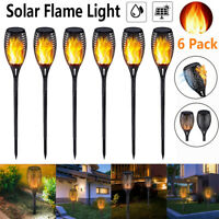 6 Pack Flame Solar Torch Light IP65 Waterproof Flickering Dancing Garden Lights
