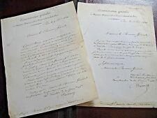 BATTELLE 2 X autographes Signés 1844 ADMINISTRATEUR HOPITAUX DE PARIS à DUPIN