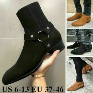 Mens Casual Boots Suede Chelsea Boots Pointed Toe Leather Ankle Boots Shoes New