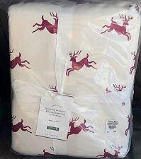Pottery Barn Jumping Reindeer organic QUEEN flannel sheet set winter Christmas