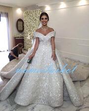 2017 Hot White/Ivory Wedding Dress Ball Bridal Gown Luxury Lace Custom Made Size