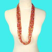 "32"" Multi Strand Pink Orange Color Bali Boho Style Handmade Seed Bead Necklace"