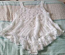 FREE-DRESS Pretty Boho Crochet Beach White Singlet Top Size S