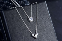 Two Layer Heart Crystal Pendant 925 Sterling Silver Necklace Womens Jewellery UK