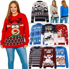 Womens Ladies Christmas Snowman Jumper Sweater Sweatshirt Xmas Knit Party Lot