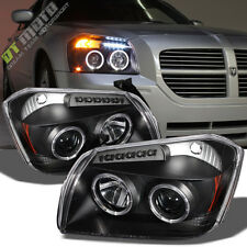 Blk 2005 2006 2007 Dodge Magnum LED Halo Projector Headlight 05 06 07 Left+Right