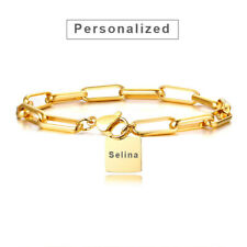 Gold Personalized Women ID Name Bracelet Chain Initials Birthday Bestfriend Gift