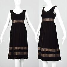 S 1960s Brown Velvet Dress Satin Ribbon Waist Hem Cocktail Party Evening 60s VTG