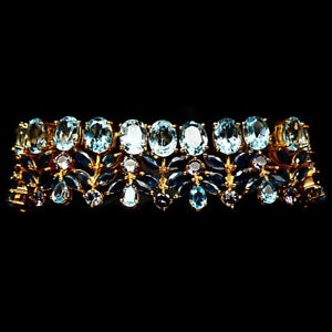NATURAL! SKY BLUE TOPAZ, BLUE SAPPHIRE & TANZANITE STERLING 925 SILVER BRACELET