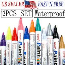 12Pcs Waterproof Permanent Paint Marker Pen For Car Tyre Tire Tread Rubber Metal