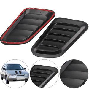 2 x ABS Car Auto Decorative Intake Scoop Turbo Bonnet Vent Cover Hood Black