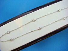 """1.05 CT """"DIAMONDS BY THE YARD"""" 10 STATIONS NECKLACE 18 INCH SAFETY LOCK 14K GOLD"""