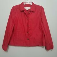 Doncaster Women's Jacket Coat Short Size 2 Red Long Sleeves Button Front Collar