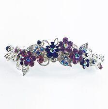USA BARRETTE Rhinestone Crystal Hairpin Clip Metal Vintage Elegant Purple 05