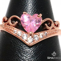 2CT Heart Pink Sapphire Hand Carved CZ Ring Women Engagement Jewelry Size 6 to 9