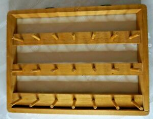 Vintage Handmade Wooden Adjustable 21 Peg Thread Bobbin Rack Stand Alone