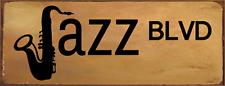 Jazz Blvd Metal Sign, Music, Street Sign, Saxophone, Den Décor, Bar Décor