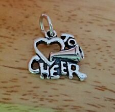 Sterling Silver 15x15mm Love Heart to Cheer with Megaphone Charm!