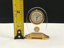 """VINTAGE """"COLLEZIO"""" MINIATURE MANTLE-CLOCK GLASS & BRASS QUARTZ  2 1/4"""""""