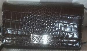 BRIGHTON Crossbody Bag Wallet/Clutch Checkbook Organizer Black  Embossed Purse
