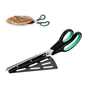 Pizzaschere mit Pizzaheber, Edelstahl Pizzaschneider, Küchenschere, Kuchenheber