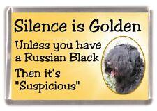 "Russian Black Terrier Dog Fridge Magnet ""Silence is Golden ....."" by Starprint"