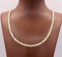 Hearts & Kisses Diamond Cut Chain Necklace Real 10K Yellow White Two-Tone Gold