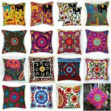 Indian Handmade Embroidered Suzani Cushion Cover 16x16 Decorative Pillow Cover