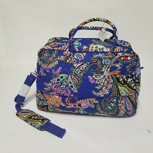 Vera Bradley Grand Traveler Extra Large Romantic Paisley Royal Blue Bag Quilted