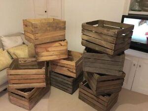 GRADED EUROPEAN VINTAGE WOODEN APPLE BOX STORAGE FRUIT CRATES BOX SHABBY CHIC ..