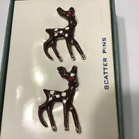 Deer Fawn Enamel Scatter Pins Brooches  Vintage In Original Box