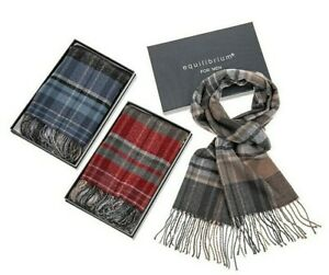 Equilibrium Men's Checked Pattern Double Sided Soft Feel Scarf Boxed Gift
