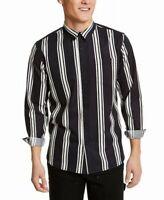 Sun + Stone Men's Shirt Bue Size XL Vertical Striped Print Button Front $45 #151